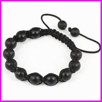 Wholesale 10pcs Black Matt Agate Beaded Macrame bracelet,Round Beads Wraped Braiding Bracelet Jewelry