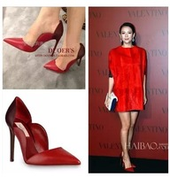 Custom-made Red wedding shoes!8cm/10cm v pointed toe high-heeled shoes,brand OL genuine leather falbala shoes