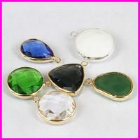 20pcs Mix Color Glass Quartz Bezel Stone Pendant,Faceted Crystal Freeform Shape Glass Beads Jewelry Accessories