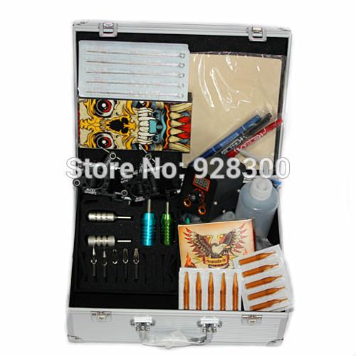 máquina de tatuagem kit tatuagem conjunto com 2 pcs metralhadora tatuagem para tatuagem fornecedores de equipamentos(China (Mainland))