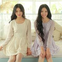 2014  New Women's Sweet Dresses Slim Waisted Lace Chiffon Dress Long Sleeve Two Color W23108C
