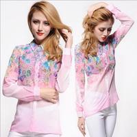 New 2014 turn-down collar long sleeve chiffon thin ladies shirts fashion European big size leisure shirt Size:S-XXL