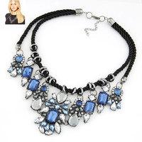 Fashion AS*S Brand Statement Necklaces Handmade Rope Imitated Gemstone Pendants Choker Collar for Women Jewelry Bijoux