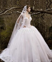 2014 Romantic Ball Gown Appliques Wedding Dresses Cap Sleeve Sleeveless Tulle Court Train Sweetheart Bridal Gown Custom G59