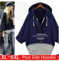 2014 Autumn Winter New Arrival Warm Zip Up Hoodies Jackets Black Blue Pullover Patchwork Sweatshirt Plus Size XL-5XL