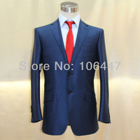 Free Shipping 100% highquality navy blue silk and wool  twill for business men formal VA designer shanghaitailor's suit factory