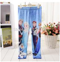 Retail 2014 Fashion Children Leggings Frozen Queen Kids Girls Tights 6 Designs Chose Girls Cartoon Leggings Free Shipping