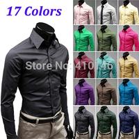 Free Shipping 2014 Men Shirt British Style Long-Sleeve Male Slim Casual Shirts Men's Cothing White Black Shirt(mens shirts01)