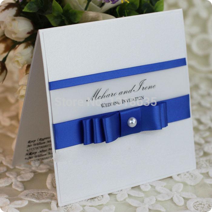 Azul Royal do convite do aniversário cartões de suporte para o casamento com layered stain fita e pérola(China (Mainland))