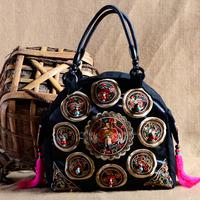 National trend bags embroidered women's handbag vintage casual one shoulder big bag embroidery large canvas handbag school bag