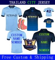 Wendy Soccer Jerseys City 14 15 NASRI KOMPANY SILVA KUN AGUERO TOURE YAYA Jersey 2015 Home Away Blue Shirts