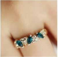 6pcs/lot Antique Retro Emerald Rhinestone Crystal Finger Ring A3100