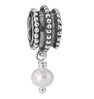 European 925 Sterling Silver inlaid Pearl Bead Charm  for Fashion Style Jewelry