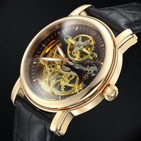 Genuine Swiss Tourbillon whole hollow automatic mechanical men's watches waterproof luminous belt male table rose gold