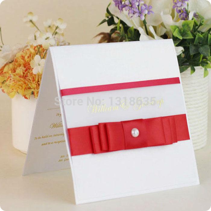 Convite do casamento de papel branco modelos do vintage com red stain fita(China (Mainland))