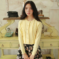 2015 Spring Autumn Hot sale Women's Sweater Princess Agaric Edge Knitted Sweater Cardigan Coat O-neck Warm Cardigans M6331