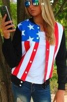 Baseball sweatshirt women crew neck coat fashion American flag print hoodies sweatshirt cardigans coat drop shipping Nora05508