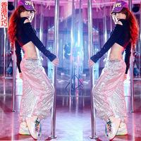 2014 women's casual trousers Unisex Hip Hop Dance Sequins Long Loose Casual Pants Trousers Baggy Couple Pants