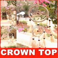 HOT!!! Two circle beautiful dream catcher  10piece/lot ,4 colours mixed ,10pcs in opp bag ,Free shipping,Diameter:16cm-9cm-7cm