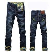 Personality casual men's clothing denim trousers male roll up hem jeans male slim skinny pants trousers