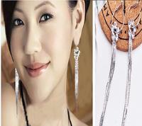 Long tassel earrings Long woman without ear hole spiral ear clip  Free Shipping