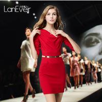 free shipping  2014 fashion  one-piece dress autumn and winter fashion elegant high quality luxury three quarter sleeve