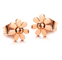 Luxury Brand Pearl Flower Earring Studs 18k Rose Gold Plated 316l Titanium Steel Stud Earrings Women Fashion Acessories Jewelry