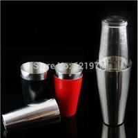 Free Shipping Stainless Steel cocktail shaker, Glass Shaker vinyle wrap, RED BLACK PVC cover TIN-Glass Shaker, Boston Shaker