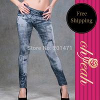 T2034 Free Shipping Ankle Sexy Ladies Sheath Slim Trousers Women Digital Print Leggings Jeggings Jeans For Women