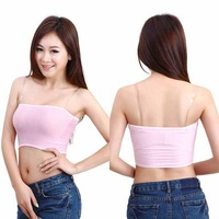 Lady Strapless Solid Wrap Chest Crop Top Microfiber Soft Stretch Vest Underwear For Free Shipping