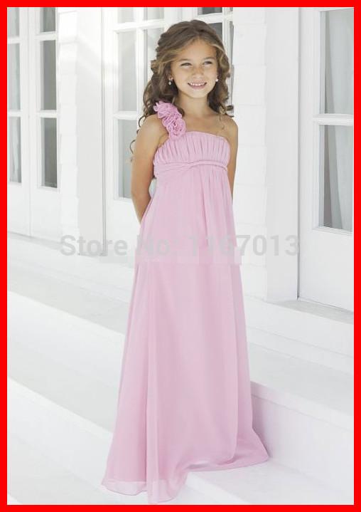 Real Simple Pink Chiffon Long Flower Girl Dresses For Beach Weddings