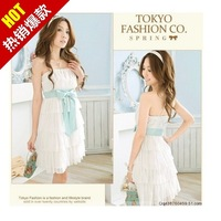 2014 gentlewomen elegant sexy short dress butterfly dress tube top women's noble chiffon slim one-piece dress