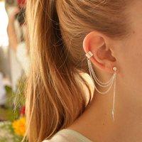 1pc Gothic Punk Personality Chain Leaf Tassel Dangle Ear Cuff Warp Clip Earring