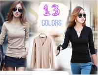 [No.24]2014 Autumn Micro Fiber Velvet T-shirt Korean style female full sleeve basic shirt Solid color v-neck t shirt for women