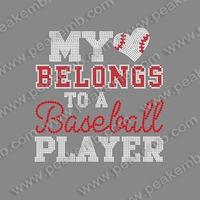 Free Shipping 30Pcs/Lot My Heart Blongs To A  Baseball Player Bling Rhinestone Heat Transfer Custom Design Available