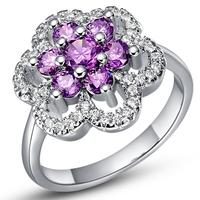 925 Sterling Sliver Purple White Rings for Women CZ Diamond Beautiful Brand Korean Flower Ring for Wedding Wholesale Ulove J491
