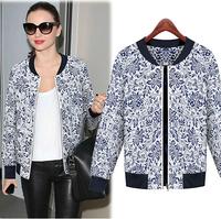 European Style O-neck Long Sleeve Zipper Up Print Women Jacket Plus size Ladies Cardigan Coat