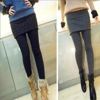 d autumn thin outer wear women's thin false two drill with leggings culottes bag hip skirt Rhinestone hot fix Rhinestone