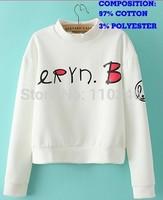 Fashion Autumn Winter Women Cotton Sweatshirts O-Neck Long Sleeve White Printed Letters Women Hoody  Cute Princess Hoodies