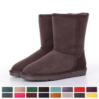 2014 new fashion women's 100% genuine leather with fur  flat snow boots 16 kinds of candy colors  size 34-44