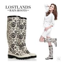 Women Rain Boots New 2015 High Quality Eco-Friendly Rubber Boots Rainboots Botas Femininas Porcelain Mosaic Galocha Sapatos