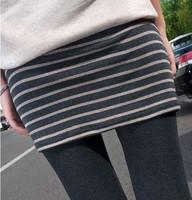 A South Korean new Leggings spring cotton fashion false two striped backing culottes wholesale D118