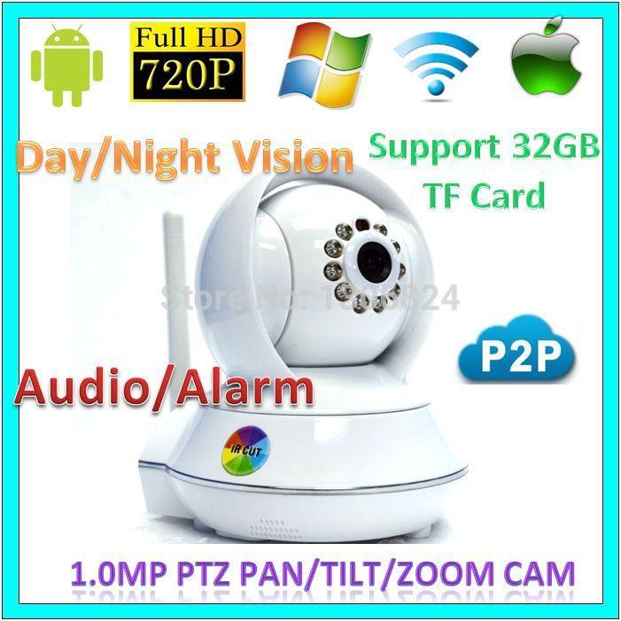 720p wifi 1.0mp p2p PTZ Network IP Cameras CCTV Support TF card Audio Alarm Wireless 1.0MegaPixel Baby Moniter CCTV WebCam(China (Mainland))