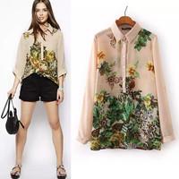 2014 Autumn Women's Floral Print Chiffon blusas Printed Full Sleeve Blouses For Women Desigual Fashion Ladies camisas femininas