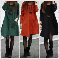 2014 High Quality Women Plus Size Loose Slim Irregular Dresses Winter Cotton 3 Colors Pocket Mini Long Sleeve Asymmetrical Dress