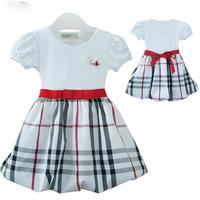 2014   New  Retail   Brand  fashion  summer  children's  dress  O-Neck  plaid  pattern  girl's  dress  free  shipping