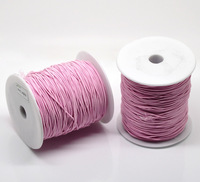 Free Shipping 1Roll(120M) Pink Elastic Cotton Covered Thread Cord 1mm