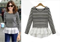 New Women's Leisure O-Neck Shirt Striped Long Sleeve Shirts Tops Free Shipping sk060134