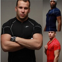 Free Shipping Fashion Famous Men Fitness T Shirt Breathable Quick Dry Men Fitness Tees Pure color Sport Shirts Men Fitness