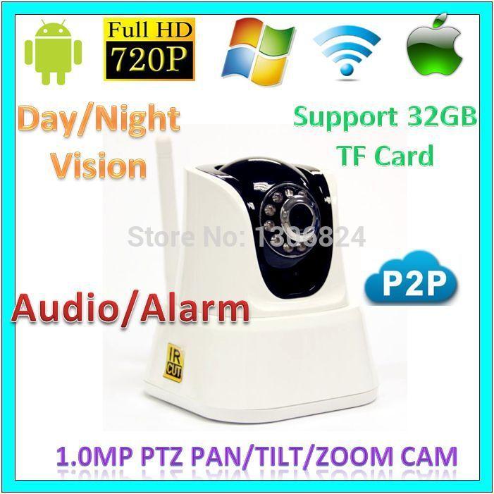 720p wifi p2p PTZ Network IP Cameras CCTV Support TF card Audio Alarm Wireless 1.0MegaPixel Baby Moniter Surveillance WebCam(China (Mainland))